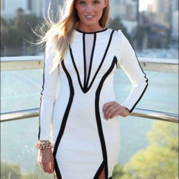 025e722afd6d Just Me Dresses | Black And White Piping Textured Knit Bodycon Dress ...